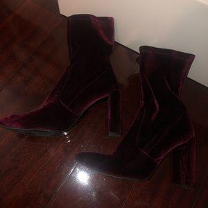 Stuart Weitzman velvet heeled booties